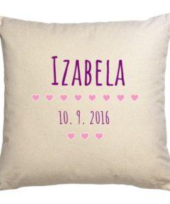 personalizovaný dárek pro nové miminko Polštářek s nápisem pro miminko