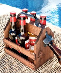 Dřevěný retro stojan na láhve s otvírákem