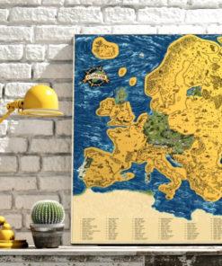 Stírací mapa Evropy Deluxe
