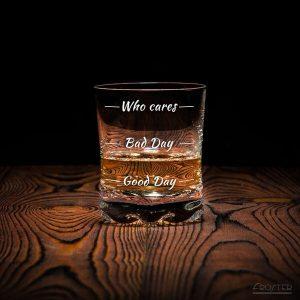 Sklenice na whisky Who cares originální skleničky dárek pro muže