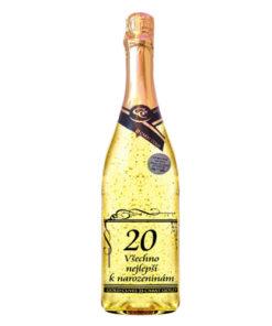 Zlaté šumivé víno 23 karát 0,75 l Narozeniny 20