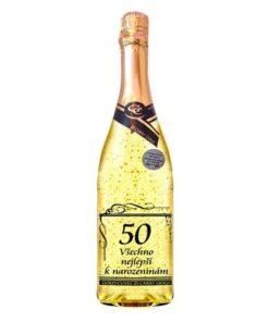 Dárek k 50. narozeninám – víno s lístky zlata