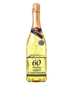 Dárek k 60. narozeninám - víno s lístky zlata