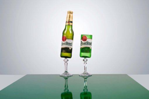 Designové skleničky z pivních láhví