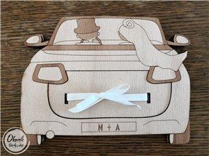 jak zabalit peníze - Originální pouzdro pro finanční svatební dar s iniciály svatebčanů