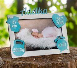 Rámeček k narození miminka s údaji o narození