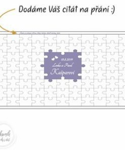 Svatební kniha hostů jako puzzle se jmény, datem a citátem