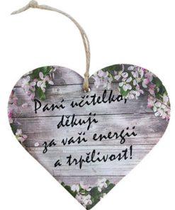 Dárek pro paní učitelku - Dřevěné dekorační srdce