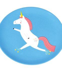 Modrý talíř s jednorožcem Rex London Magical Unicorn
