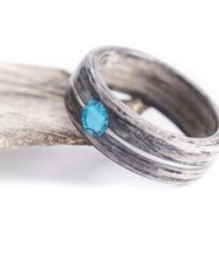 Dřevěný prstýnek Z- Grey Oak Dot