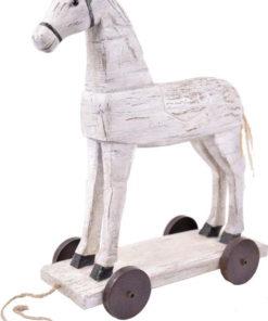Bílá dekorace ve tvaru koníka