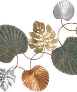 Železná nástěnná dekorace s motivy listů