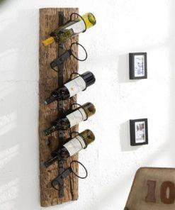 Nástěnný stojan na víno z teaku