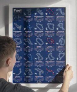 Stírací plakát závodních okruhů