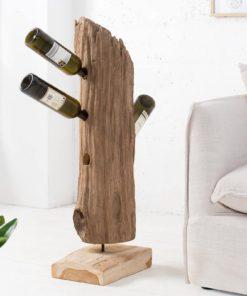 Designový stojan na víno ze dřeva