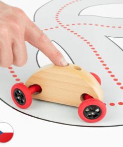 Trihorse Autíčko Finger Car přírodní se závodní dráhou
