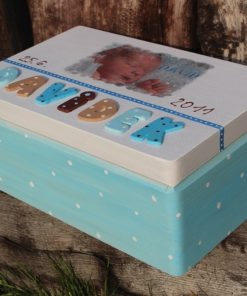 KRABICE na vzpomínky modrá - dárek k narození miminka - Se zámkem
