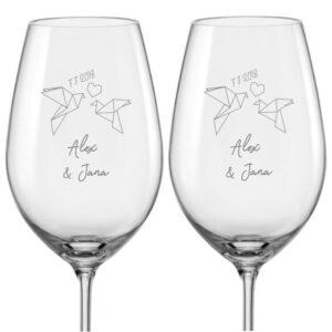 svatební skleničky na víno s textem